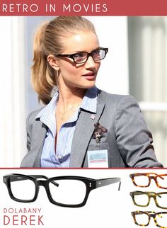 Rosie Huntington playing the part of White House correspondent while wearing a spexy retro frame in black in the movie Transformers 3. Get the look with Dolabany Eyewear's Derek frame! Such a great unisex look!