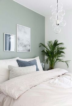 Neutral, minimalist bedroom decor with white bedding and light green walls, # . - Neutral, minimalist bedroom decor with white bedding and light green walls, # bedding - Best Bedroom Paint Colors, Colors For Bedrooms, Bedroom Ideas Paint, Relaxing Bedroom Colors, Bedroom Designs, Bedroom Wall Colour Ideas, Room Colour Ideas, Bedroom Ideas For Small Rooms For Adults, Bedroom Paint Design