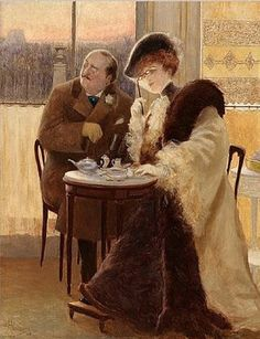 by Albert Guillaume (French, - Art Cafe, Impressionist Art, Tea Art, Couple Art, Fantastic Art, Love Painting, French Artists, Belle Epoque, Drawing S