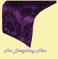 Eggplant Damask Flocking Taffeta Wedding Table Runners Decorations x 10 For Hire by JRMB7339 - $60.00