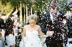 Coloful confetti with white dress contrast