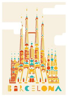 Barcelona, travel, spain, la Sagrada Família, Gaudí, Guadi, poster, church, gothic | See more about travel posters, barcelona spain and spain travel.