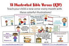 Free illustrated children's Bible Verses (KJV) These are so cute!!