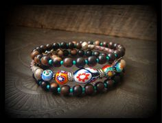 RESERVEDMurano Millefiori Wood and Bolo Leather Wrap by YuccaBloom, $47.00