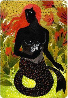 Art And Illustration, Illustrations, Mermaid Illustration, Mermaid Song, Mermaid Art, Mermaid Mermaid, Mermaid Style, Black Mermaid, The Little Mermaid