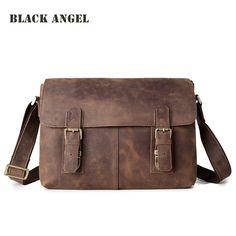 BLACK ANGEL vintage crazy horse leather mens messenger bags cowhide genuine leather crossbody bag business casual shoulder bag #Affiliate