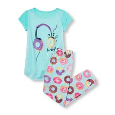 4ad9aad8f5 Girls Short Sleeve 'Sweet' Donut Headphones Graphic Top And Printed Pants  PJ Set Girls