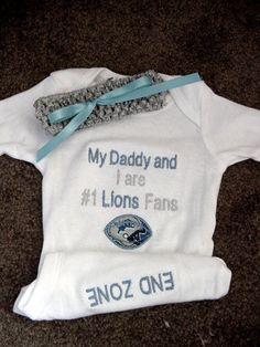 Detroit Lions Football Baby Infant Newborn Onesie Creeper and Cochet Headband set on Etsy, $28.99