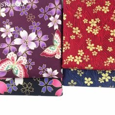 DIY Lake Blue 7 Patchwork Cotton Fabrics Printed Striped Cotton Floral Handmade