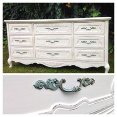 Bassett French provincial dresser~oyster shell white/turquoise pulls~ by cottage chic furniture on facebook