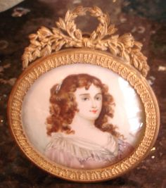 Antique miniature painting, bronze easel frame, signed | eBay