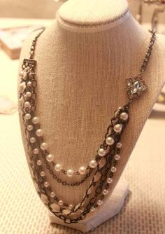 Asymmetrical Gunmetal Silver and Ivory Pearl by StudioSophieRae, $32.00