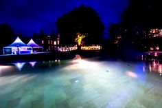 Twin peaked pagodas with atmospheric outdoor lighting brought pure magic to the this waterside location. Outdoor Lighting, Outdoor Decor, Family Events, Twin, Environment, Magic, Pure Products, Beautiful, Home Decor