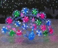 5 Ft Outdoor Peacock Light Show $69.99 Www.allthingspeacock.com   Peacock  Garden Decor