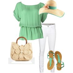 This is light and airy summer look. Cute tote.