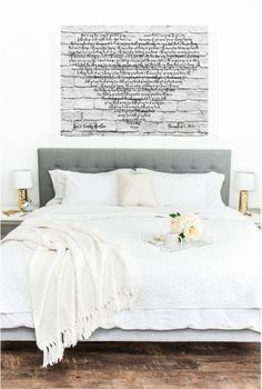The featured listing is a and has a white background, gray lettering and a weathered gray frame. This sign is offered in two sizes! or - you can select from the drop down menu! We also have a one listed in our shop! See link below: Dream Bedroom, Home Bedroom, Master Bedroom, Bedrooms, Couple Room, Ideas Hogar, My Room, Decoration, Sweet Home