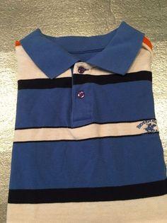 Men's BEVERLY HILLS POLO CLUB Golf Polo Shirt - Blue, Orange Striped - Size XXL