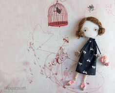 Young Girl with Toy Art doll brooch Personalized gift for