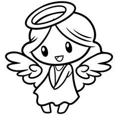 Chibi Angel lineart-- White BG by DawnieDA on DeviantArt Cute Cartoon Drawings, Love Drawings, Angel Drawing, Time Heals, Head Shapes, Cute Chibi, Line Art, Hello Kitty, Old Things