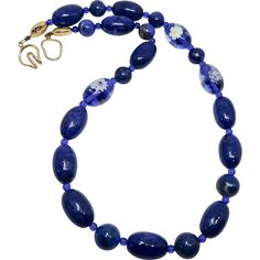 Top Quality Rich Natural Blue Lapis with Vintage Venetian Glass Flower Bead Necklace  #vintagebeginshere at www.rubylane.com @Ruby Lane Vintage #vintagejewelry