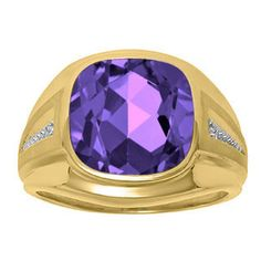Diamond and Purple Amethyst Men's Large Ring In Yellow Gold Father's Day 2015 Unique Jewelry Gift Presents and Ideas. Gemologica.com offers a large selection of rings, bracelets, necklaces, pendants and earrings crafted in 10K, 14K and 18K yellow, rose and white gold and sterling silver for that special dad. Our complete collection and sale of personalized and custom gifts for dad: www.gemologica.com/mens-jewelry-c-28.html