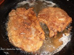 Buttermilk Fried Pork Chops 4 bone in pork chops 1/3 C. buttermilk 1 large egg, beaten 1 C. all purpose flour ** 2 T. cornmeal 1 tsp. my house seasoning (equal parts garlic powder, onion powder and pepper...combine and store in an airtight container) 1/4 tsp. smoked paprika 1/4 tsp. cayenne pepper vegetable oil for frying ** You can make this recipe gluten free by substituting these ingredients. Place the pork chops in a ziploc bag and pour in the buttermilk. Seal and place in the fridge...