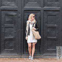 dress and leather jacket Love Fashion, Dutch, Leather Jacket, Clothes, Jackets, Stuff To Buy, Dresses, Style, Studded Leather Jacket