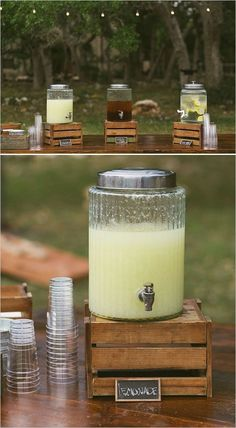 rustic country wedding drink wedding station / http://www.deerpearlflowers.com/wedding-drink-bar-station-ideas/2/