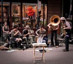 Royal Street ~ Street performance by Skinny Tuba, French Quarter, New Orleans, La.