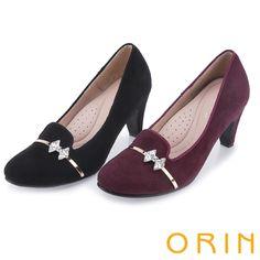1980- 典雅波特小姐 復古水晶蝴蝶結高跟鞋-黑色 -60/65/75 紫剩70---7CM