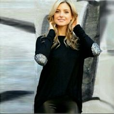 DEAL OF THE WEEK Elbow Patch Top Super comfy hi-lo polyester shirt with glitter elbow patches. Dress up with jeans and heels or go casual with leggings and boots.  NO TRADES Tops Tees - Long Sleeve