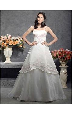 A-line / Princess Spaghetti Straps Sleeveless Floor-length Satin Wedding Dress