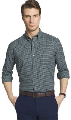 Van Heusen Big & Tall Flex Stretch Regular-Fit Non-Iron Button-Down Shirt Best Smart Casual Outfits, Formal Men Outfit, Men's Wardrobe, Gentleman Style, Men Casual, Casual Styles, Long Sleeve Shirts, Button Down Shirt, Mens Fashion