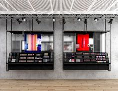 In addition to the pragmatic function, the mirrors alter the viewer's experience at times by fracturing and expanding the perception of space… Design Blog, Store Design, Retail Fixtures, Retail Shelving, Coffee Store, Cosmetic Shop, Store Interiors, Retail Interior, Merchandising Displays