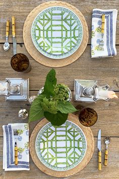 With a geometric bamboo pattern in lively colors, our Bamboo Melamine Plates add a modern and fresh touch to any Spring or Summer tablescape. Made of 100% Melamine, these plates are easy to clean and low maintenance. Melamine Dinnerware Sets, Plate Sets, Tablescapes, Tabletop, Make It Simple, Bamboo, Blues, Touch, Fresh