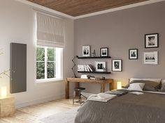 Chambre décorée par un radiateur connecté gris vertical thermor #décochambre