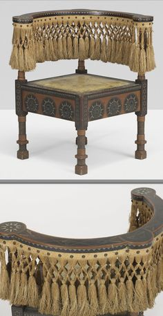 Carlo Bugatti corner chair, Italy, c. 1900, walnut and ebonized wood, silk, painted parchment, copper, pewter, mother of pearl 22 w x 22 d x 27.75 h inches