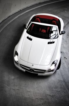 ♂ Open top white car with red interior #automotive #transportation