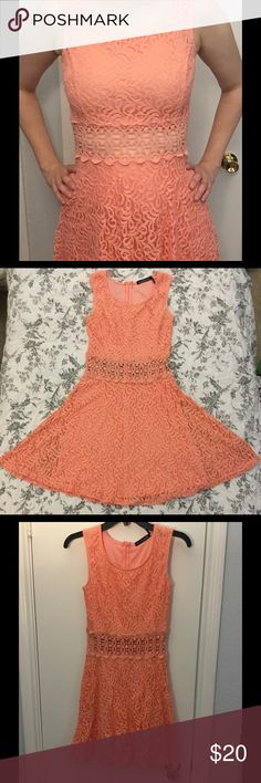 "Coral lace dress This dress is perfect for brunch! Or a night out, with a peekaboo midriff. Only worn twice. Waist 26"", full length 32"", skirt length 16"". YouAreNotAlone Dresses Mini"