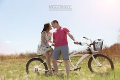 Engagement Session on Mackinac Island, with a tandem bike!  Image by McCoy Made Photography, 2015.  #tandembike #engagementphoto #MackinacIslandWedding #McCoyMadePhotography