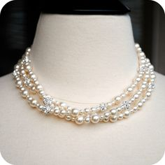 Bridal Necklace Ivory Pearl Three Strand Wedding by BGBJewelry, $105.00