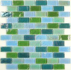 "Ocean Pool Mosaic  Splash Series, 1"" x 2"", Summer, Glossy & Iridescent, Green, Glass"
