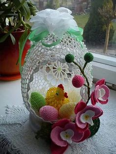Discover thousands of images about Crochet Washcloth - Irische Double Layered Flower Easter Egg Basket, Easter Bunny Eggs, Yarn Crafts, Diy And Crafts, Butterfly Ornaments, Crochet Chicken, Easter Crochet Patterns, Diy Ostern, Egg Art