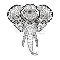Elephant head. Adult antistress coloring page. Black white hand drawn doodle animal. Ethnic patterned vector. African, indian, totem tribal design. Sketch for tattoo, poster, print, t-shirt