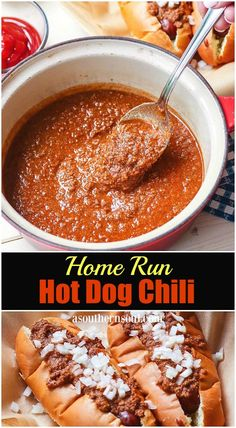 Home Run Hot Dog Chili is the ultimate topping for your grilled dogs, sausages and burgers! This meaty, tangy, slightly sweet sauce is simmered in just the right combination of herbs and spices. It's a winning recipe for your next cookout, BBQ or tailgate Chilli Recipes, Dog Recipes, Sauce Recipes, Beef Recipes, Cooking Recipes, Recipes With Hotdogs, Hamburger Recipes, Turkey Recipes, Chicken Recipes