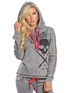 """Womens """"Jess"""" Pullover Hoodie by Sullen Clothing (Grey)"""