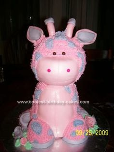 Homemade  Giraffe Birthday Cake: This Giraffe Birthday Cake was made for my cousin's daughter Maya for her 3rd birthday.  I used a small ball pan for the head and a pampered chef small