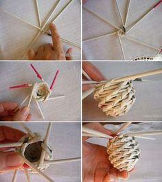 me ~ Easter Crafts: Newspaper Woven Eggs Beach Crafts, Diy And Crafts, Crafts For Kids, Arts And Crafts, Willow Weaving, Basket Weaving, Diy Paper, Paper Art, Origami