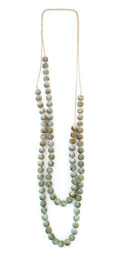 14k Grey Glass Beaded Necklace Set by DianaHoDesigns on Etsy