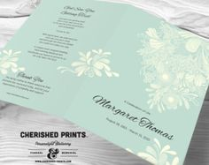 Beautiful Soft Peonies Funeral Program for by CherishedPrints